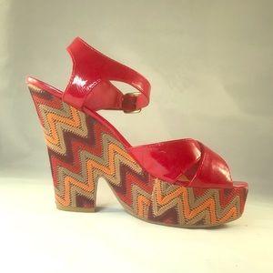 Madden Girl Zig Zag Heeled Platform Sandal